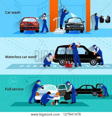Full service car wash with attendants team cleaning vehicle 3 flat banners abstract vector isolated illustration