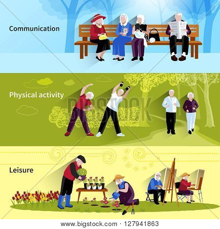 Elderly People Banners Set. Elderly People Vector Illustration. Elderly People Concept. Elderly People Flat Horizontal Banners. Elderly People Decorative Illustration. Elderly People Symbols. People Flat Isolated Set.