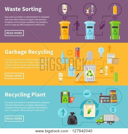 Recycling Flat Concept. Garbage Horizontal Banners. Recycling Vector Illustration. Garbage Recycling Set. Recycling Design Symbols. Recycling Elements Collection.