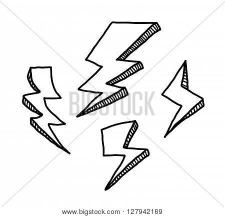 Lightning Doodle Set, a hand drawn vector doodle illustration set of lightnings.