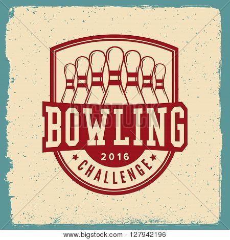 Bowling Emblem. Logotype Template On Retro Grunge Background