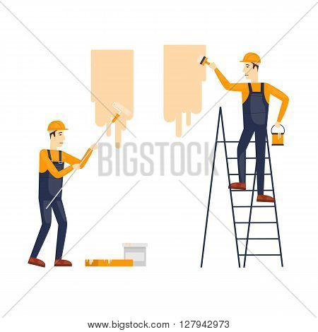 Painting, painter. Craftsman painting. Builder, Repairs, painter in yellow helmet working with tools. Flat design vector illustration.
