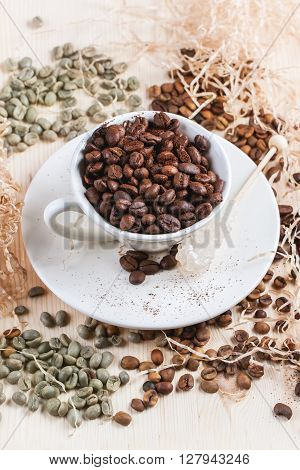 Green, Brown And Black Coffee Beans