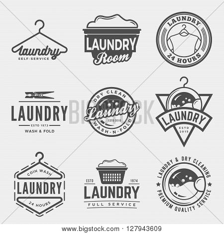 vector set of laundry emblems and design elements. logotype templates and badges.