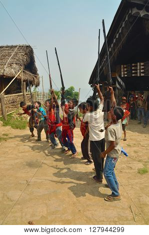 Young Warriors Dancing In Nagaland, India