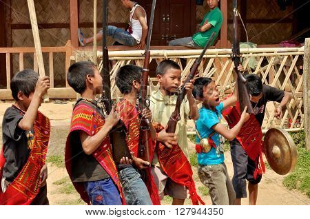 Young Warriors Singing In Nagaland, India
