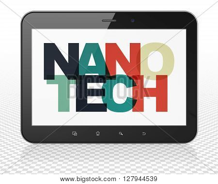 Science concept: Tablet Pc Computer with Painted multicolor text Nanotech on display, 3D rendering