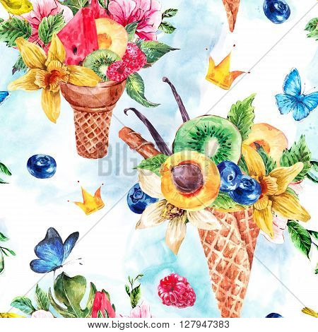 Summer hand drawing watercolor seamless pattern with a fruity cocktail in waffle cone, crown, flowers natural illustration, Berries in waffle cones pattern