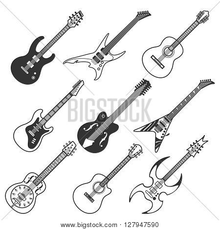 Black guitars vector silhouettes. Classic and bass guitars vector icons