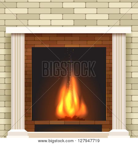 Classic fireplace icon. Vector fireplace for living room interior