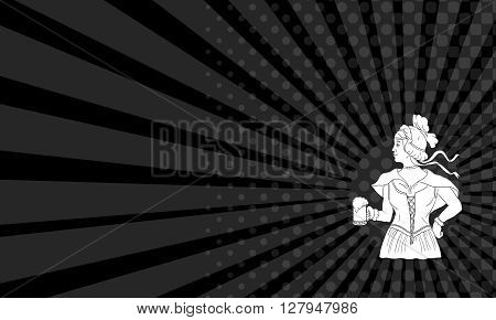 Business card showing Drawing sketch style illustration of a German barmaid wearing medieval renaissance costume dress holding a beer mug viewed from side set on isolated white background.