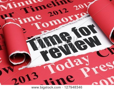 Time concept: black text Time for Review under the curled piece of Red torn paper with  Tag Cloud, 3D rendering