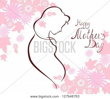 Silhouette of expectant mother with text for Happy Mothers Day celebration. EPS10 vector illustration