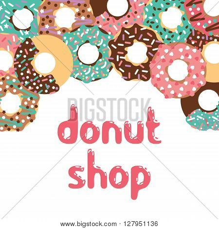 Vector donut illustration. Vector donut shop. Donut shop logo. Isolated donuts for cafe. Deserts food in a flat style. Sweet donuts with frosting and caramel topping.