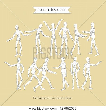 Model moving people isolated on a white background. Anatomical vector art mannequin. Wooden artist manikin. Art mannequin like drawing model with articulated joints.