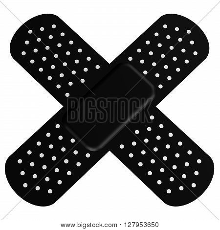 Cross antiseptic patch isolated on white background. 3D rendering.