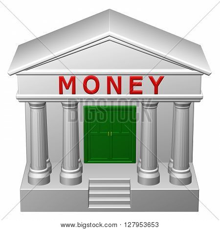 Concept: Money isolated on white background. 3D rendering.