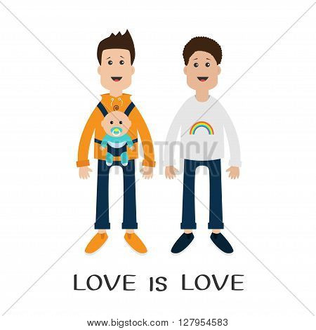 Gay family. Two fathers with baby boy son in baby carrier sling. Male couple. Rainbow on shirt. Love is love text quote. Greeting card. LGBT community Cute characters Flat design Vector illustration