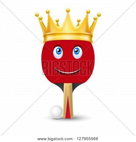 Golden crown on tennis racket with smiling face isolated on white background