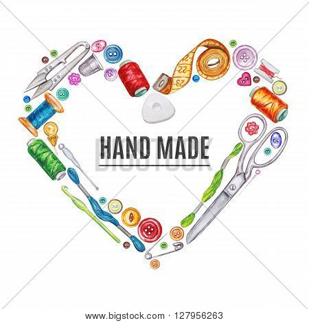 Heart frame of various watercolor sewing tools. Sewing kit accessories and equipment for sewing. Tools for needlework. Scissors buttons bobbins with thread and needles