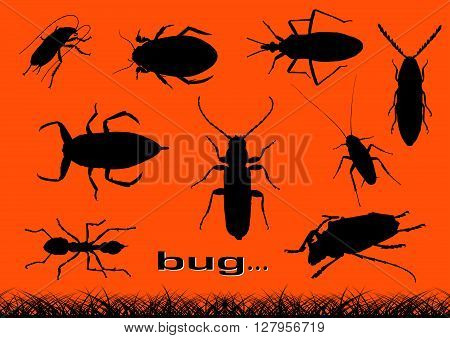 vector black silhouettes of various bugs, insect