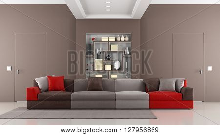 Brown livingroom with two doors flush with the wallcolorful sofa and bookcase - 3d rendering poster