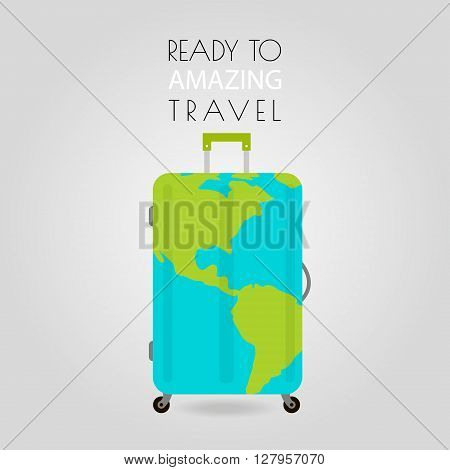 Suitcase icon. Travel concept. Suitcase with Earth on surface. Suitcase icon best. Suitcase icon image. Vector Illustration