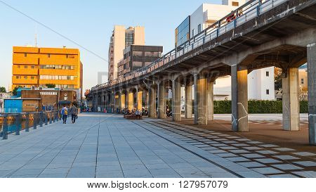 YOKOHAMA JAPAN - NOVEMBER 24 2015: Kaiko Promenade - a route that travels along the waterfront from Yamashita Koen to Akarenga Red Brick Warehouse and Minato Mirai area