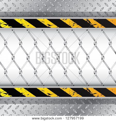 Industrial background with wired fence and tire treads