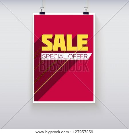 Sale Poster with Long Shadow. Sale and discounts template. Clearance Sale Banner, graphics sales, sale flyer, sale background. Vector illustration