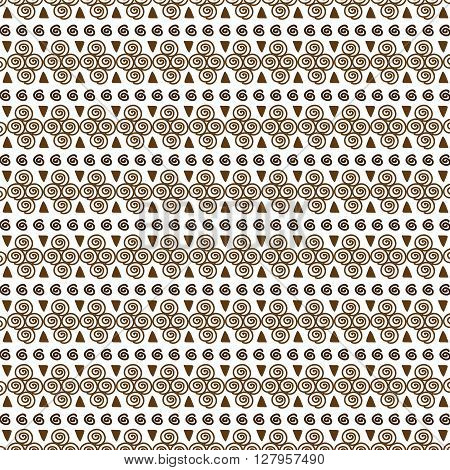 Vector Seamless brown Tribal Pattern for Textile Design
