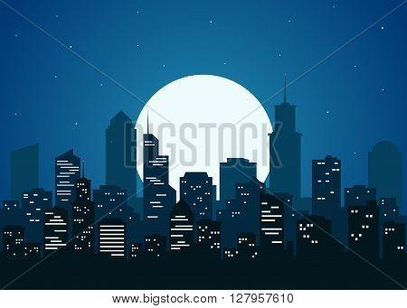 Night city vector illustration. Night cityscape in flat style. Night city silhouette. Night city skyline abstract background. Modern night city landscape. Dark urban scape.