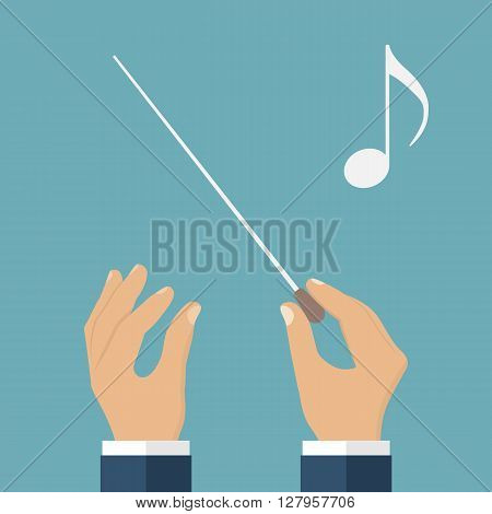 Hands of conductor orchestra. Music background. Conductor's stick. Baton in hands of conductor. Flat design vector. Conductor conducting an orchestra isolated icon. Music director. Maestro composer