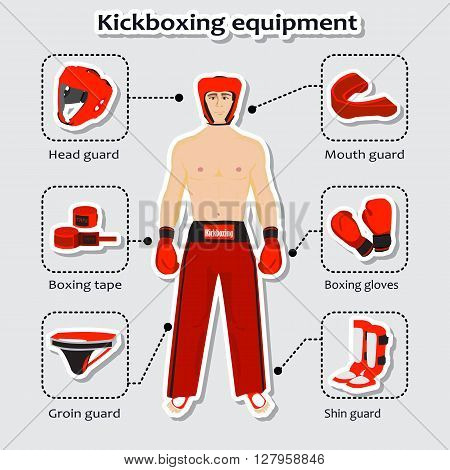 Sport equipment for kickboxing martial arts with sportsman in the uniform.