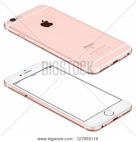 Varna Bulgaria - October 25 2015: Rose Gold Apple iPhone 6s mockup lies on the surface with white screen and back side with Apple Inc logo. Isolated on white.