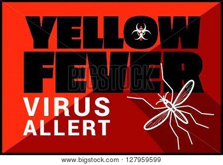 Yellow fewer virus allert flat vector outline illustration.