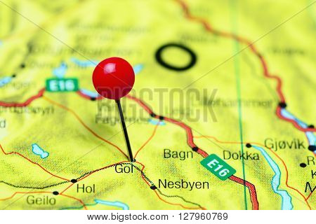 Gol pinned on a map of Norway