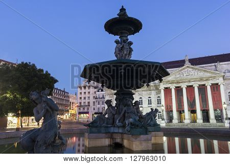 Lisbon, Lisbon, Portugal - December 3, 2015: National Theatre of Dona Maria II in Lisbon in Portugal