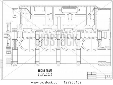 technical drawing engine construction project or plan with horizontal frame on the white background. stock vector illustration eps10