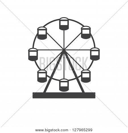 Ferris wheel. Silhouette of a ferris wheel. Icon Ferris wheel isolated on white background.
