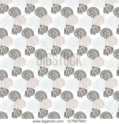 Seamless hand drawn pattern with black blue and pink whorl. Vector illustration
