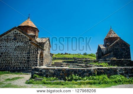 Photo of the Medieval church on Sevan lake