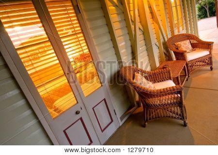 Cane Lounge On Verandah