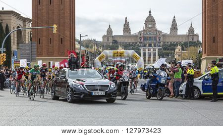 Barcelona Spain - March, 27 2016: The peloton at the start of the last stage of Volta Ciclista a Catalunya 2016 in Montjuic Bracelona Spain on March 27 2016.