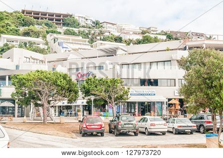 PLETTENBERG BAY SOUTH AFRICA - MARCH 3 2016: A view of shops restaurants and luxury accomodation at the beachfront at Beacon Island