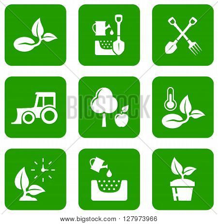 set of garden green icons with white concept silhouette symbols