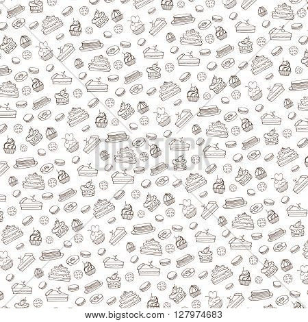 Doodle vector.Bakery, Cakes and dessert, pastries  linear pattern.Colored vintage icons, sweet elements background formenu, cafe shop. Flat hand drawn vintage collection.Backdrop, fabric, wallpaper