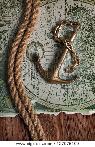 Vintage Brass Anchor And World Map
