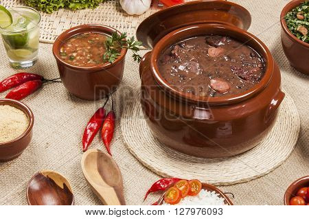 Feijoada the Brazilian cuisine tradition. Gourmet food.