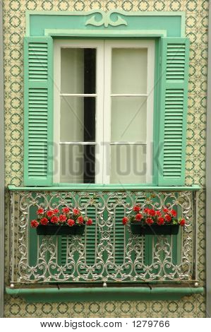 Traditional Apartment Balcony In The Azores